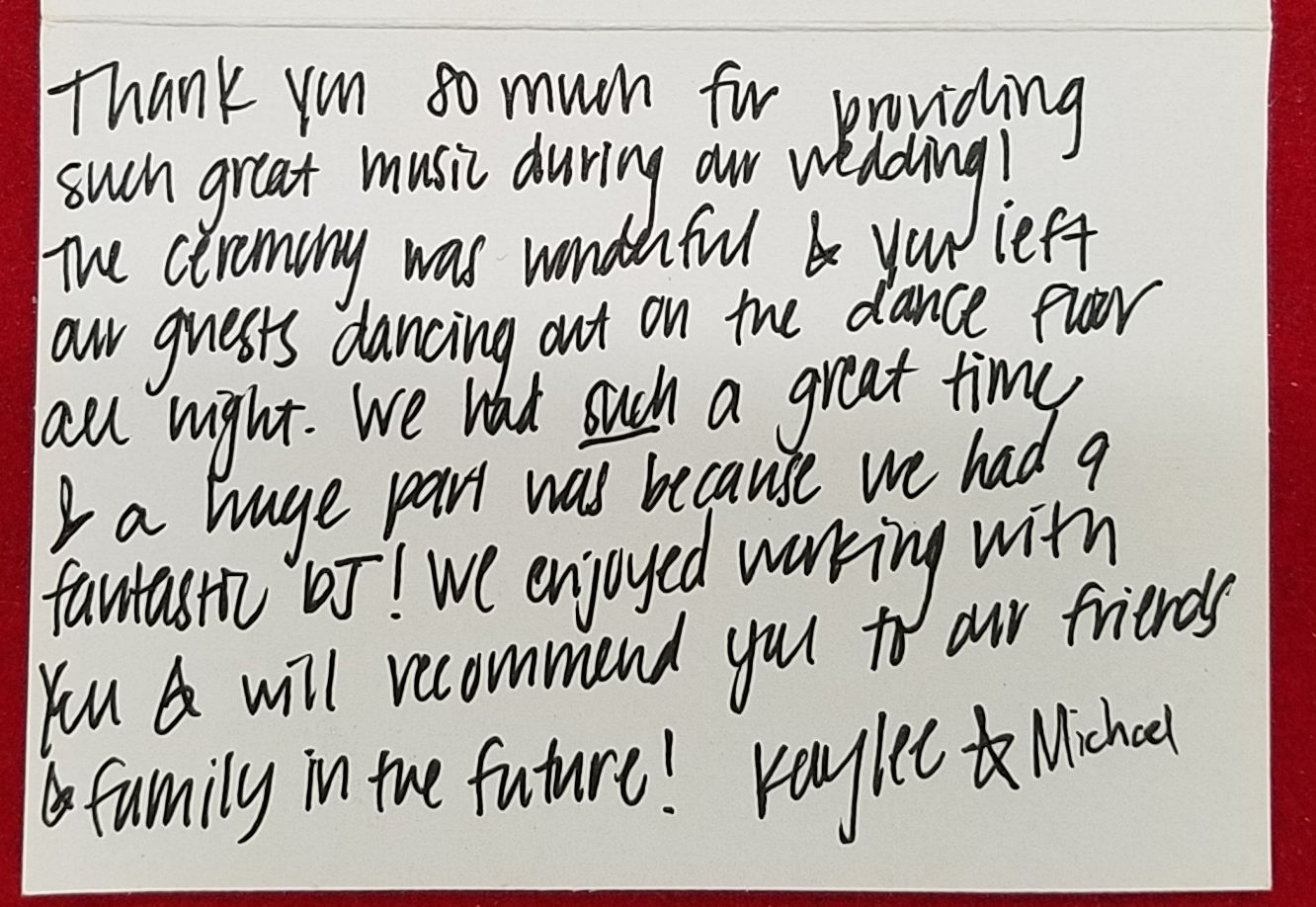 Thank you note to Wedding DJ