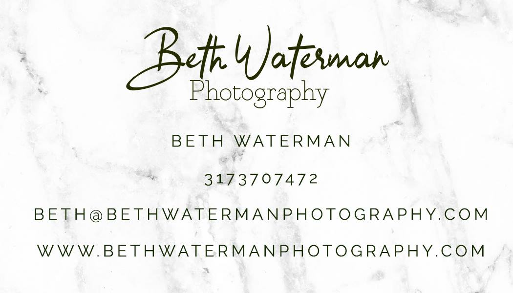 Beth Waterman Wedding Photography business card - Bloomington INdiana