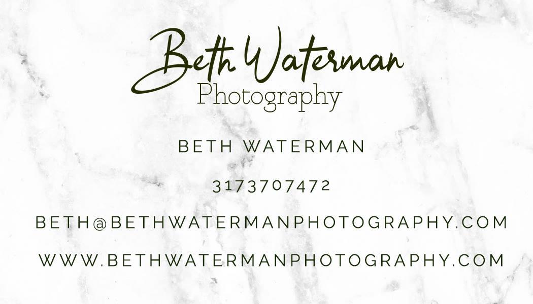 Beth Waterman Wedding Photography business card - Bloomington INdiana