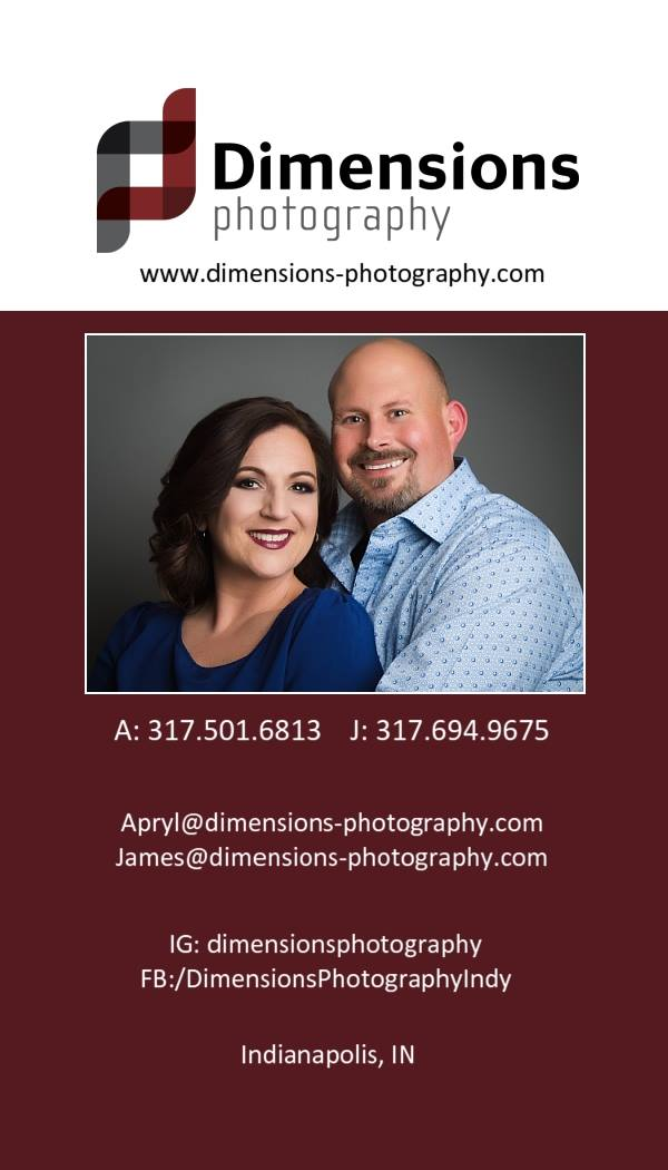 Dimensions Photography - Hendricks County Indiana - Business card